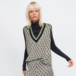 Zara Metallic Thread Jacquard Vest S
